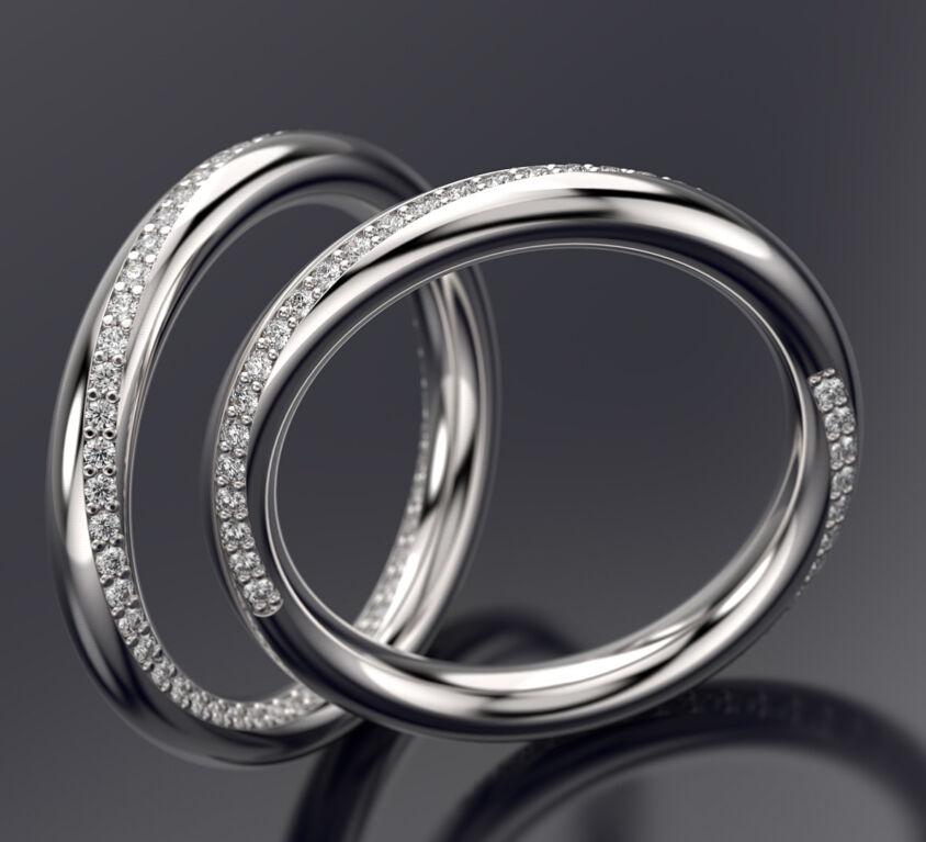 Simple diamond set wedding bands