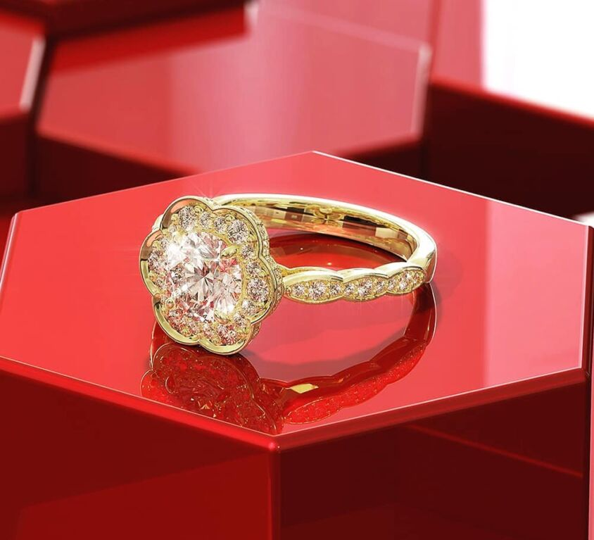 Cluster yellow gold ring